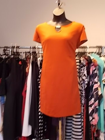 ORANGE SHELL DRESS WITH GOLD FRONT CLASP