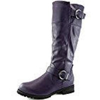 Purple Leather Like Riding Boots