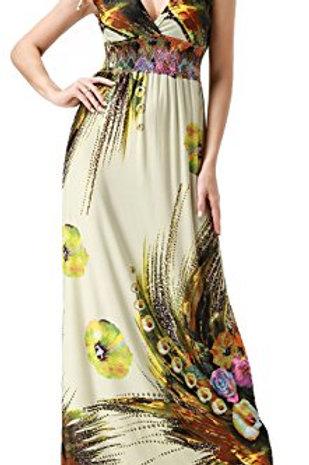 Maxi Dress Floral Print V Neck