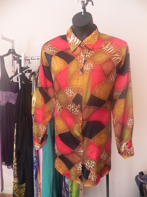 GOLD/RED/BLACK SHINNY BLOUSE