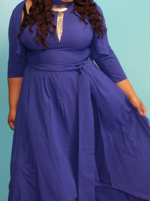 Sleeveless Belted Party Maxi Dress with Cardigan