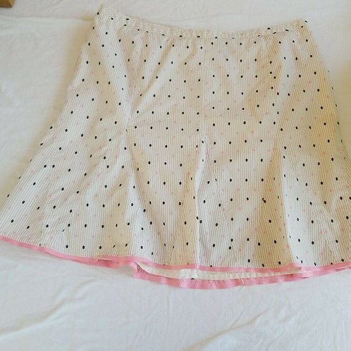 Cream, Black, and Pink Polka Dotted Skirt
