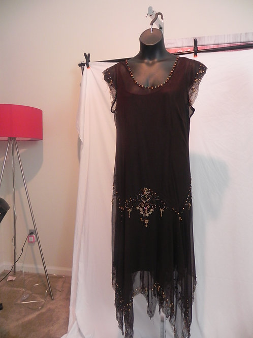 LANE BRYANT BROWN NET BEADED ACCENT DRESS WITH SHARK TEETH TALE