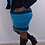 Thumbnail: TEAL AND BLACK SLEEVELESS DRESS WITH A BLACK LEATHER LIKE JACKET