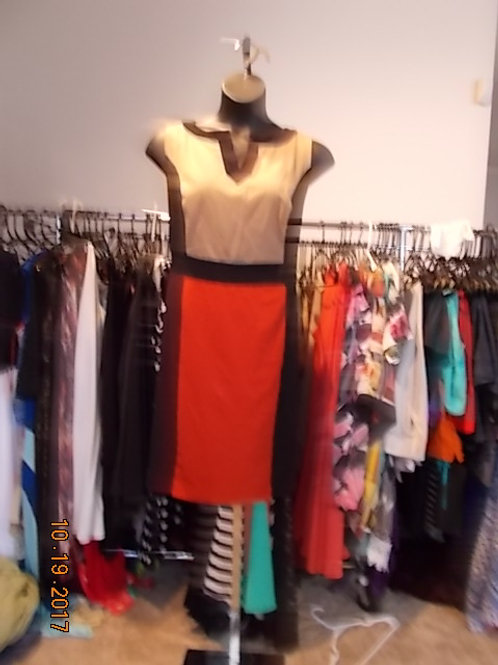 ORANGE AND TAN COLOR BLOCK DRESS WITH BLACK SIDES