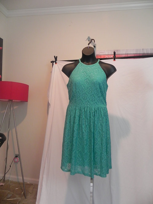 TEAL GREEN STRAPLESS LACE DRESS