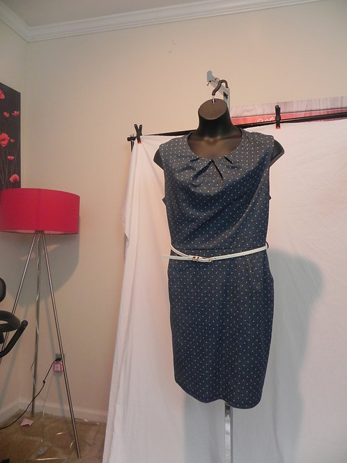 FTF BLUE SHORT DRESS WITH WHITE POLKA DOTS
