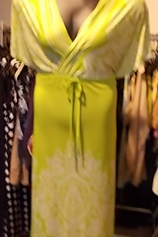 Green & White  V-Neck Maxi Dress