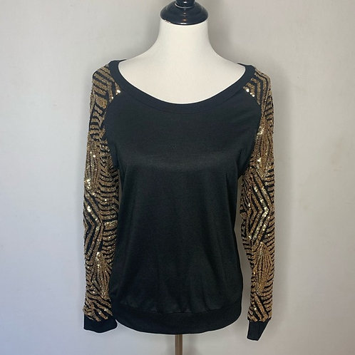 Black Long Sleeve Top w/Gold Sequin Sleeve