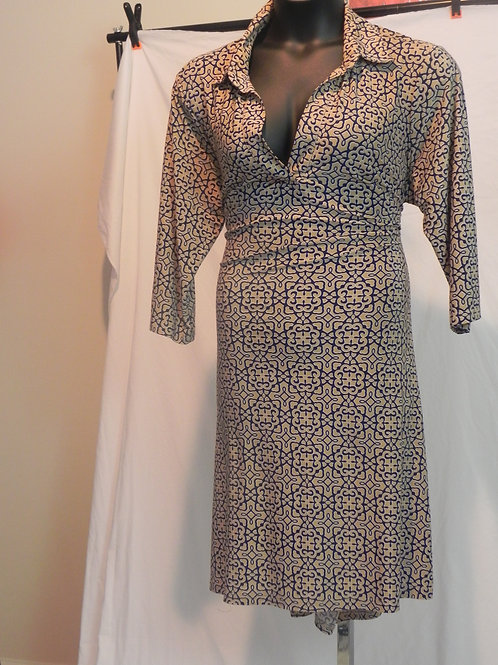 Mlle Gabrielle Dress Slinky Collared Work Navy Tan Pattern Loose