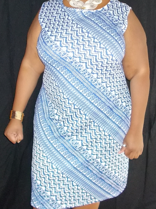 ROYAL BLUE & WHITE SHEATH PULLOVER DRESS