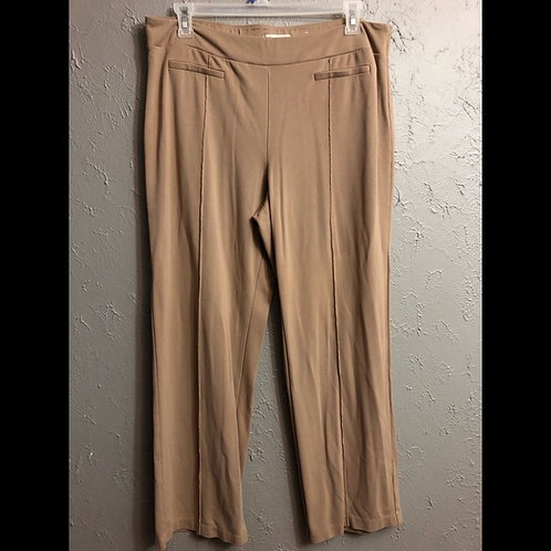 TAN COTTON PANTS WITH PLEATED CREASE