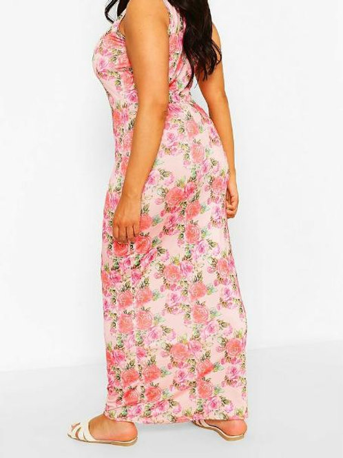 Plus Floral Scoop Neck Slinky Maxi Dress