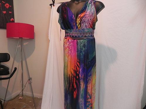 V-Neck Floral Printed Beach Boho Maxi Dress