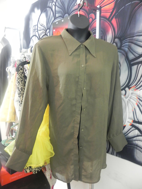 GREEN SHEER FRONT BUTTON UP BLOUSE