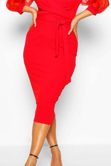 Plus Off The Shoulder Organza Sleeve Midi Dress