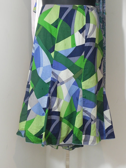 BLUE/GREEN/GREY SHORT FLARE SKIRT