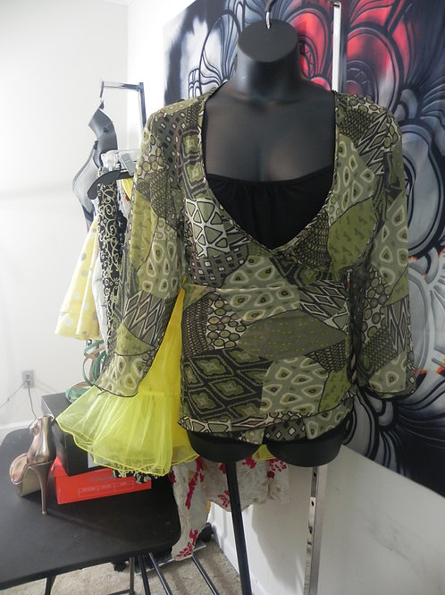 OLIVE GREEN/BLACK WRAP TOP WITH ATTACHED CAMI