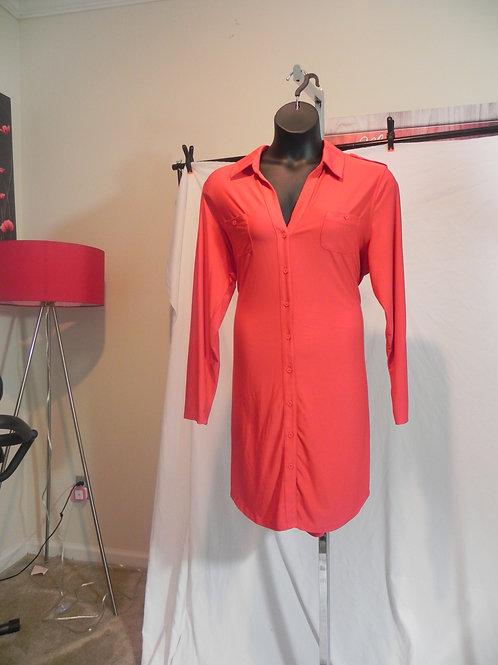 RED LONG SLEEVE SHIRT DRESS