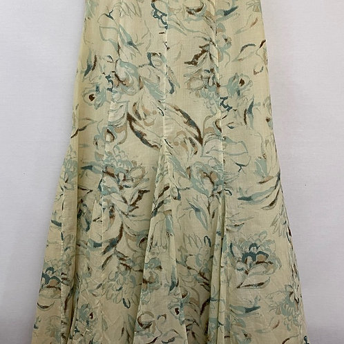 TAN AND GREEN FLARE SKIRT WITH LINING