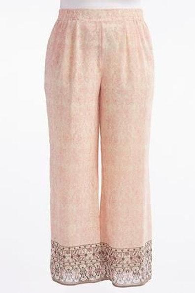 Soft Pink & Bordered Grey Palazzo Pants