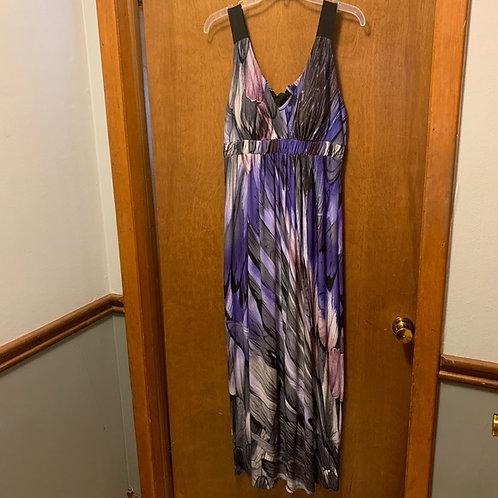 purple/grey/black maxi dress