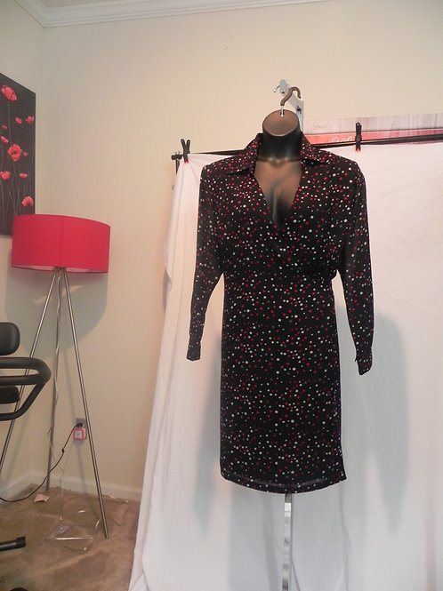 BLACK/ RED AND WHITE POLKA DOTS LONG SLEEVE WRAP DRESS