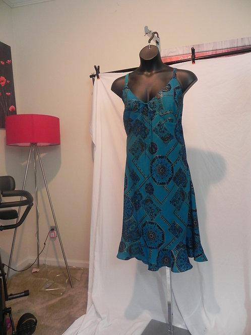 TEAL BLUE SPAGHETTI STRAP SHORT SUN DRESS