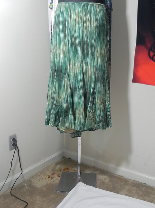 GREEN AND BROWN PLEATED A-LINE SKIRT WITH LINING