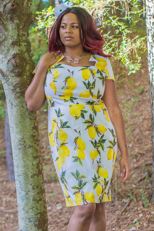 LEMON PRINT VINTAGE PENCIL DRESS