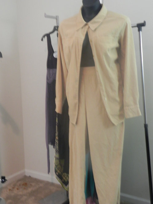 CANARY YELLOW SUEDE LOOK PANTS SUIT