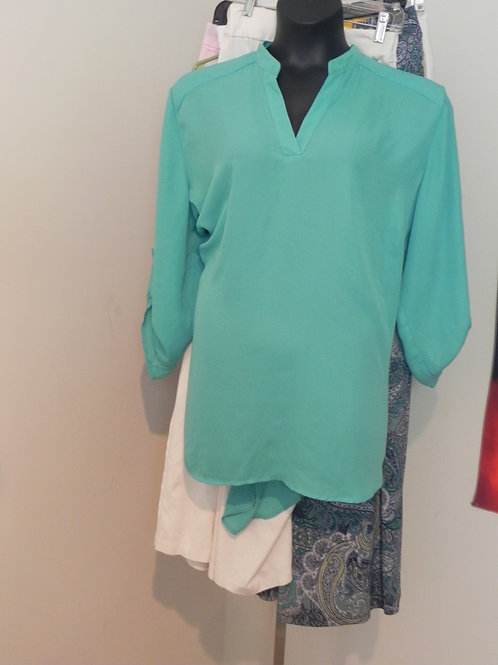 TEAL PULLOVER BLOUSE