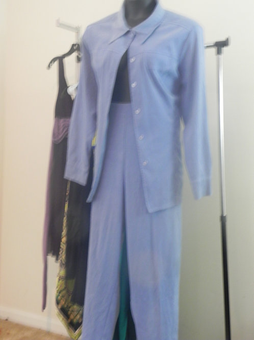 LIGHT BLUE FAUX SUEDE PANTS SUIT