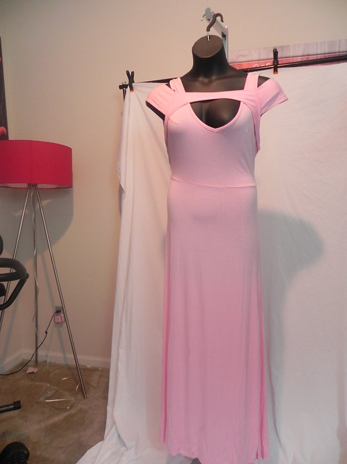Solid V-Neck Short Sleeve Wrap Waist Long Maxi Dress Pink
