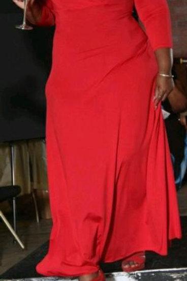 Solid V-Neck 3/4 Sleeve  Maxi Dress