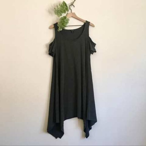 GREY COLD SHOULDER SHORT DRESS
