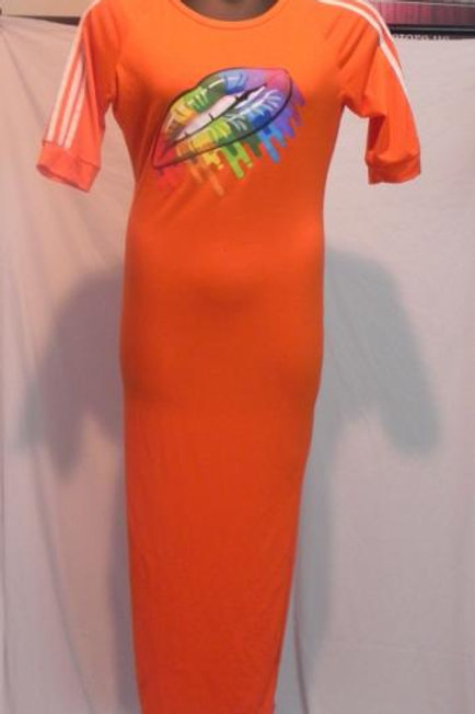 ORANGE LONG TSHIRT DRESS
