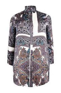 GREY MULTI PAISLEY SHIRT DRESS