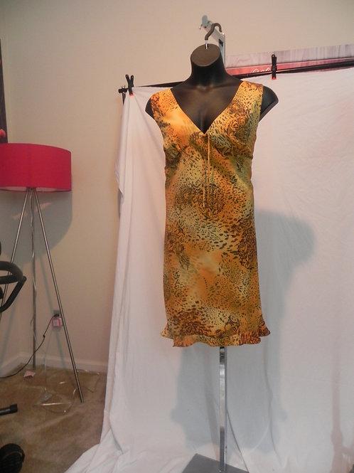 TAN & BROWN ANIMAL PRINT SHORT DRESS