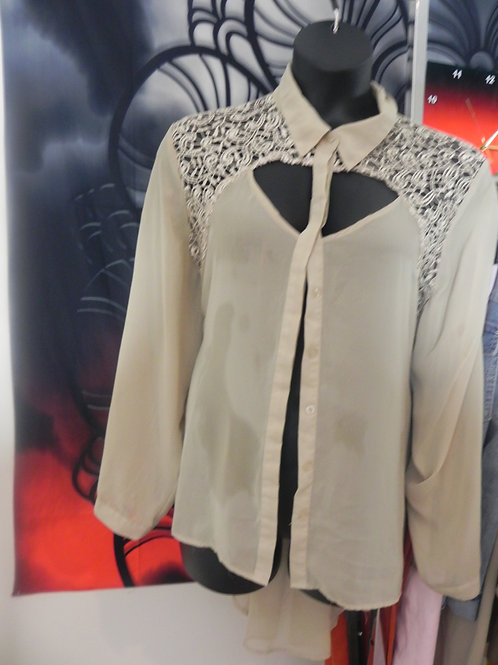 TAN SHEER BLOUSE WITH CUT OUT BACK