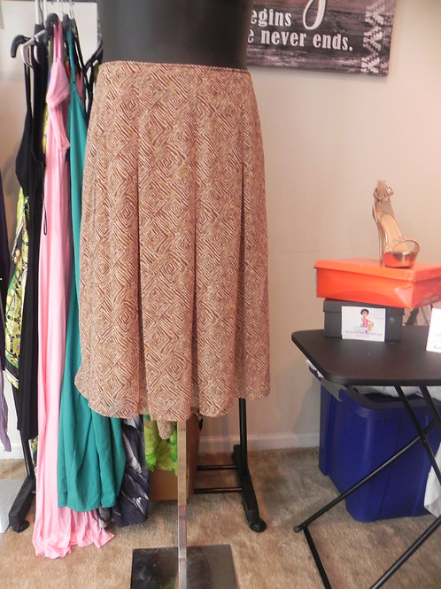 BROWN AND TAN PLEATED SKIRT WITH LINING