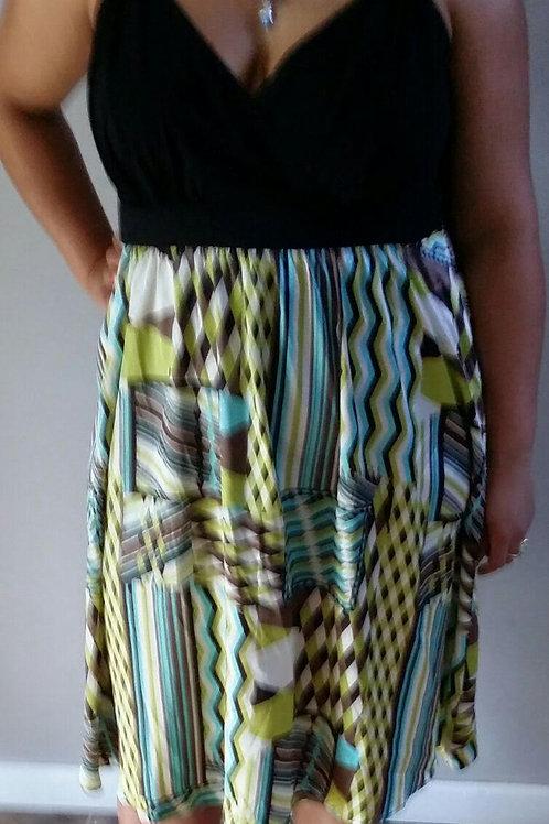 BLACK AND GREEN SPAGHETTI STRAP DRESS