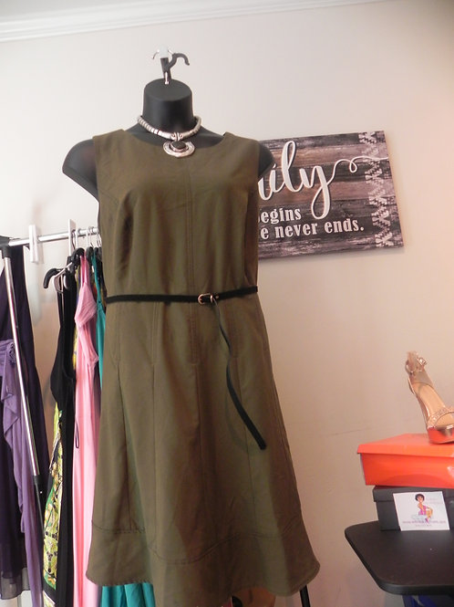OLIVE GREEN SLEEVELESS BELTED SWING DRESS