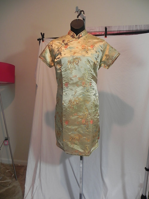GOLD ORIENTAL QIPAO STYLE DRESS