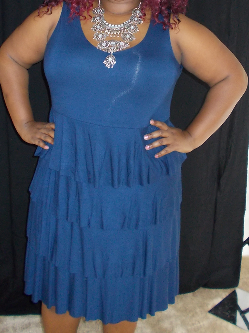 Dark Blue Tiered Jersey Cotton Stretch Sleeveless CASUAL MINI DRESS