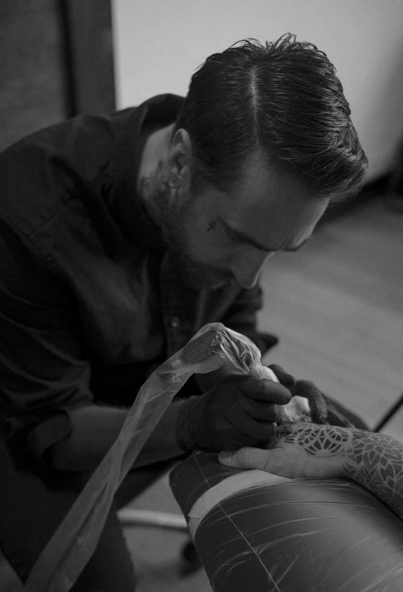 Dillon Forte in his Venice, CA studio (Sri Yantra Tattoo)