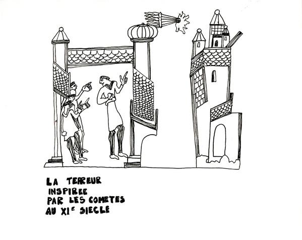 La terreur inspirée par les comètes au XIe siècle, stylo sur papier, A4, 2015