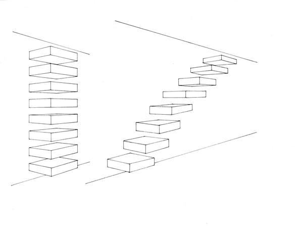 Judd stairs, encre sur papier, 24 x 30 cm, 2017