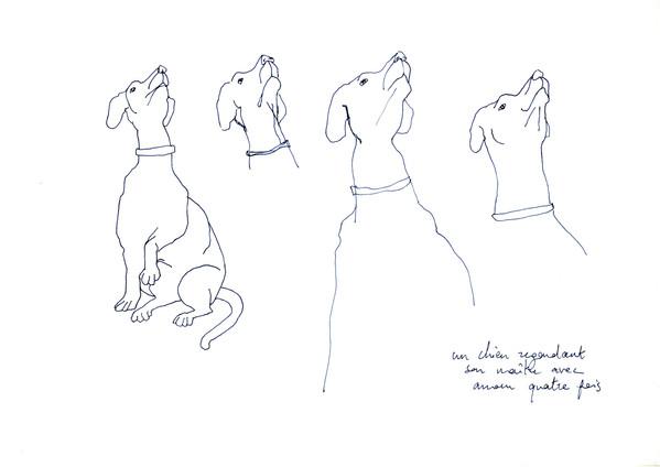 Un chien regardant son maître avec amour quatre fois, stylo sur papier, A4,2015