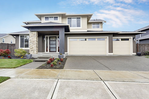 Curb appeal of brand-new home in brown a